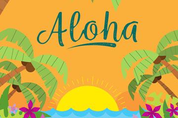 彩色夏威夷岛屿日落风景矢量素材