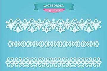 4款白色蕾丝花边设计矢量素材
