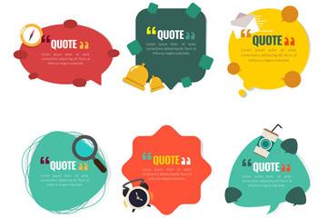 6款彩色卡通引述语语言气泡矢量图