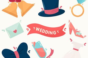 8款卡通婚礼元素矢量素材