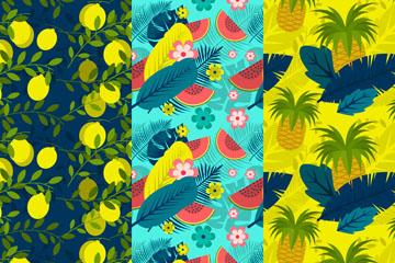3款彩色夏季水果和植物无缝背景矢量图
