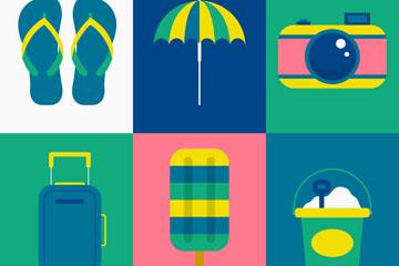 6款彩色夏季度假元素矢量素材