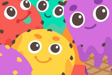 5个彩色卡通表情冰淇淋矢量图