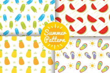 4款彩色夏季食物无缝背景矢量图