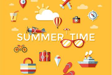 16款彩色夏季时光图标矢量素材