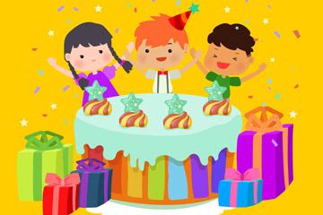 卡通过生日的3个儿童矢量图