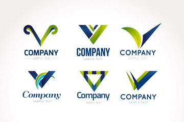 9款创意大写字母V商务标志矢量图