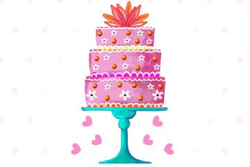 彩绘三层生日蛋糕设计矢量素材