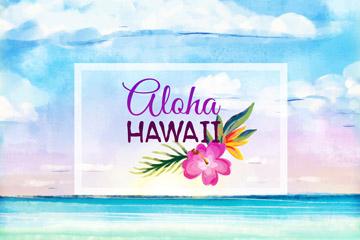 彩绘夏威夷大海和花卉矢量素材