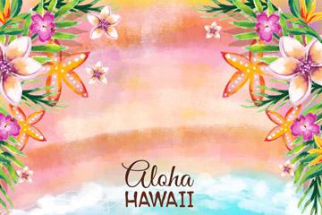 水彩绘夏威夷沙滩花卉矢量素材