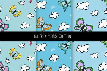 3款彩绘蝴蝶和云朵无缝背景矢量