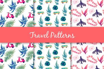 3款水彩绘旅行交通工具和花草无缝背景矢量图