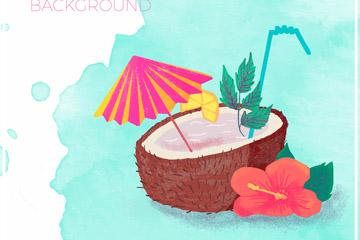 水彩绘夏威夷椰汁和扶桑花矢量图