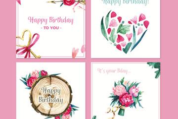 4款水彩绘花卉生日贺卡矢量素材