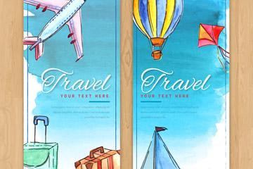 2款手绘旅行物品banner矢量素材