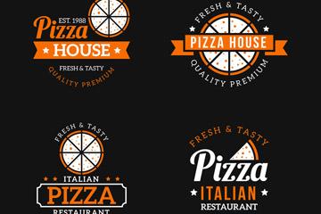 4款精致橙色披萨标志矢量素材