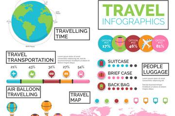 彩色旅行元素信息图设计矢量图