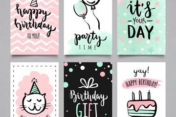 6款手绘生日快乐卡片矢量素材