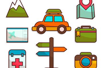 8款彩色旅行元素贴纸矢量图