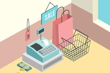创意立体购物用品矢量素材