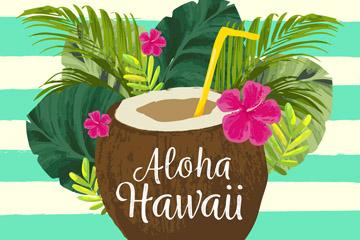 水彩绘夏威夷椰汁和棕榈树叶矢量