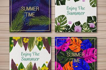 4款彩色夏季花草卡片矢量素材