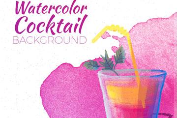 水彩绘紫色鸡尾酒矢量素材