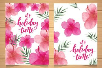 2款水彩绘粉色扶桑花卡片矢量图