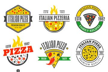 9款彩色披萨店标志矢量素材