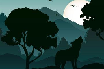 创意野外嚎叫的狼剪影矢量图