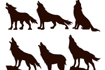 6款创意黑色狼剪影矢量素材