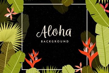 创意夏威夷棕榈树叶和火鹤花框架矢量图