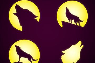 4款创意夜晚嚎叫的狼剪影矢量图