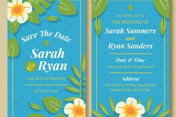 彩色热带花卉婚礼邀请卡正反面矢