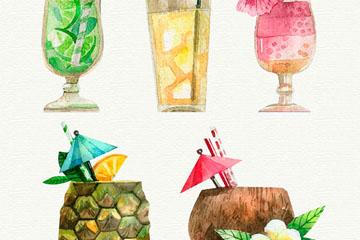 5款水彩绘夏季饮料矢量素材