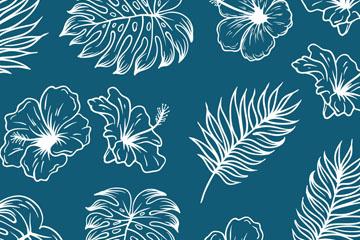 手绘热带花卉和树叶无缝背景矢量图