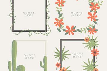 4款创意植物装饰框架矢量素材