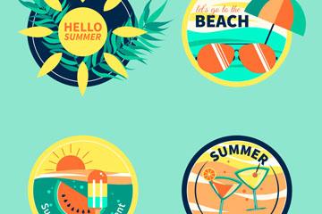 4款圆形夏季度假标签矢量素材
