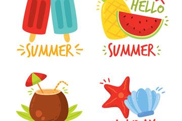 4款卡通夏季元素标签矢量素材