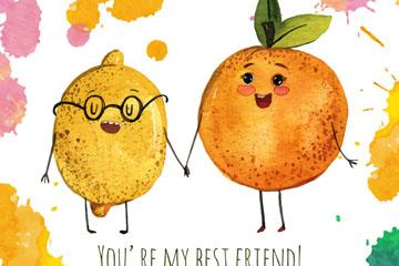 水彩绘卡通拉手的橙子和柠檬矢量