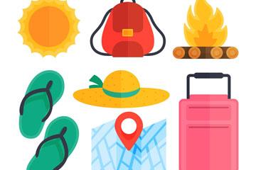 7款彩色旅行物品矢量素材