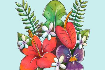 水彩绘热带花束矢量亚虎娱乐pt