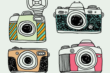 4款手绘照相机设计矢量素材