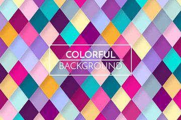 彩色立体感菱形格纹背景矢量素材