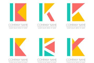 6款创意大写字母K标志矢量图