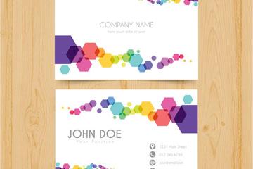 彩色六边形装饰商务名片正反面矢量图