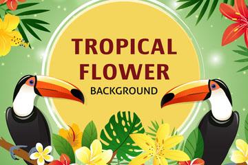 创意热带花卉和大嘴鸟矢量素材