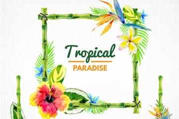 3款水彩绘热带花卉边框矢量图图