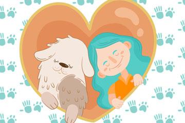 彩绘蓝发女孩和宠物狗友谊日矢量