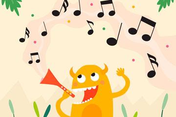卡通吹奏乐器的小怪兽矢量素材
